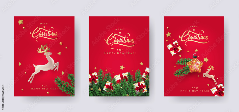 Fototapeta Set of Christmas and New Year greeting cards with xmas decoration. Winter Holiday Posters or banners design in modern realistic style with fir branches, gift boxes, christmas tree toys deer and stars