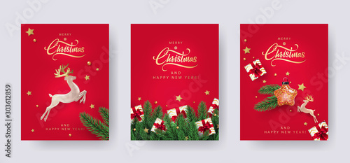 Set of Christmas and New Year greeting cards with xmas decoration Fotobehang