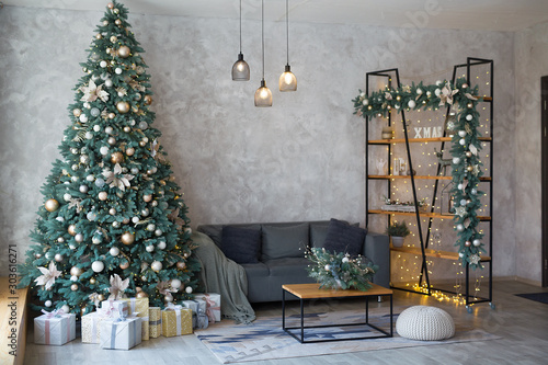 Interior of modern living room with comfortable sofa decorated with Christmas tr Fototapeta
