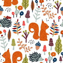 Seamless Autumn Pattern With Squirrel, Mushrooms And Hedgehog In The Forest. Creative Woodland Texture For Fabric, Wrapping, Textile, Wallpaper, Apparel. Vector Illustration