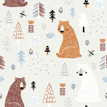 Seamless Childish Pattern With Cute Bears In The Wood. Creative Kids Forest Texture For Fabric, Wrapping, Textile, Wallpaper, Apparel. Vector Illustration