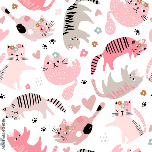seamless-childish-pattern-with-cute-girl-cats-creative-kids-hand-drawn-texture-for-fabric-wrapping-textile-wallpaper-apparel-vector-illustration