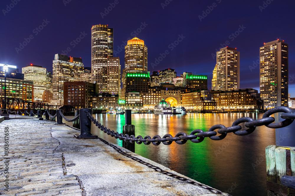 Fototapety, obrazy: Boston Downtown skylines Bay