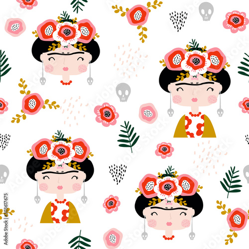 Seamless childish pattern Frida Kahlo portrait Fototapet