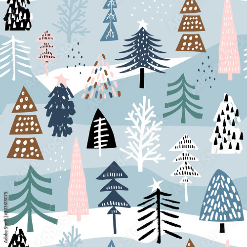 Photographie  Seamless winter pattern with colorful christmas tree