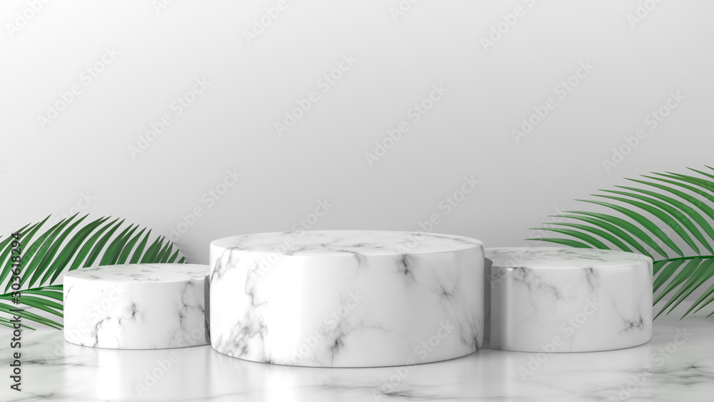Fototapety, obrazy: White marble cylinder podium in white background. concept scene stage showcase for new product, promotion sale, banner, discount, presentation, cosmetic, ranking, offer. copy space. 3D rendering