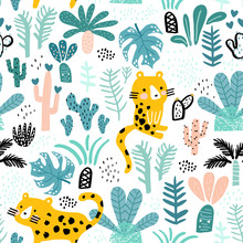 Seamless Jungle Pattern With Cheetah In Jungle, Branches, Palm Leaves. Creative Floral Texture. Great For Fabric, Texture Vector Illustration