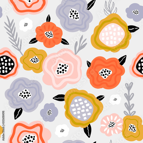 Seamless pattern with scandinavian style flowers. Creative spring floral texture. Great for fabric, textile Vector Illustration