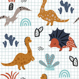 Fototapeta Dinusie - Childish seamless pattern with hand drawn dino, palm trees and cactuses in scandinavian style. Creative vector childish background for fabric, textile