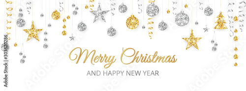 Fototapeta Merry Christmas banner with gold and silver decoration on white background obraz