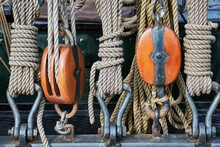 Old Sailing Ship Rigging Details, Ropes And Pulleys