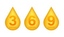 Omega 3, 6, 9, Gold Icon. Vitamin Drop Pill Capsule. Shining Golden Essence Droplet. Vector Illustration.