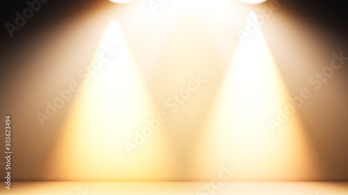 Obraz Empty space with yellow lit lights used for background and display of your product.3D illustration background - fototapety do salonu