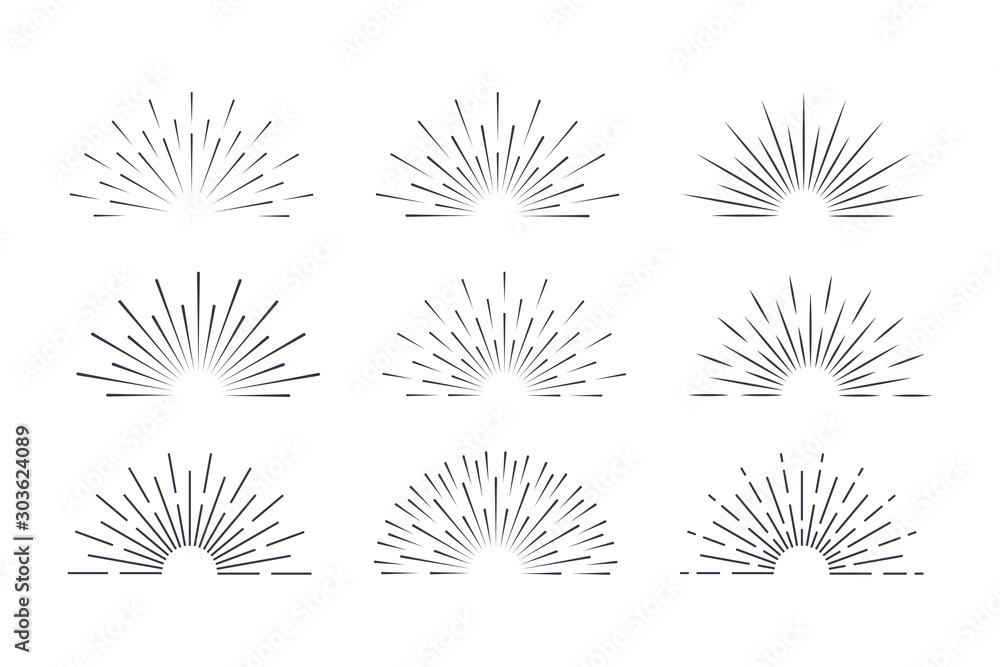 Fototapeta Sunburst set black style isolated on background for logotype, emblem, logo, tag. Firework explosion, star. Vector stock illustration.