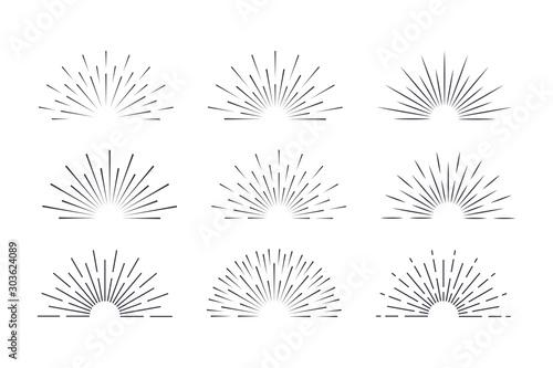 Sunburst set black style isolated on background for logotype, emblem, logo, tag Tapéta, Fotótapéta
