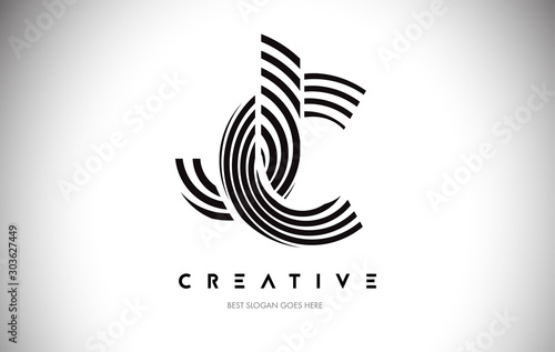 Photo JC Lines Warp Logo Design. Letter Icon Made with Circular Lines.
