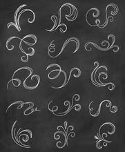 Chalk Flourishes Drawn On Blac...