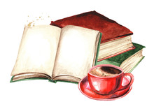Old Books And Cup Of Coffee. W...