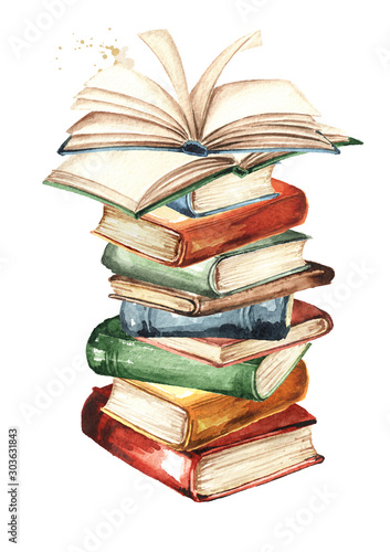 Obraz Tall stack of old books, Watercolor hand drawn illustration, isolated on white background - fototapety do salonu