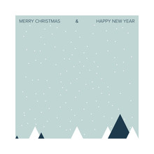 Christmas Card Featuring Winter Holiday Scene. Minimal Aesthetic.