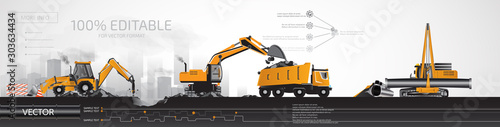 Construction heavy equipment, infographic. Fototapeta