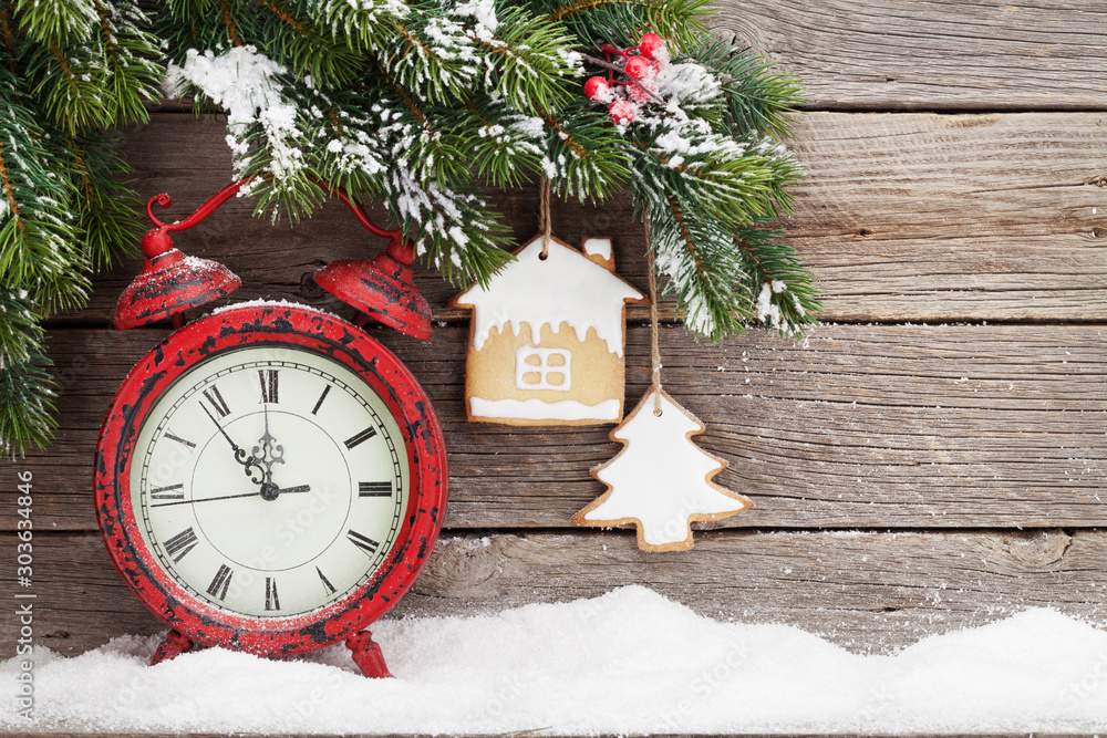 Fototapety, obrazy: Christmas alarm clock and fir tree branch