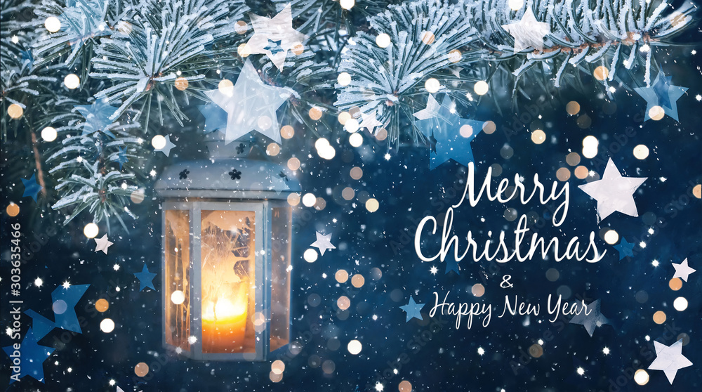 Fototapeta Beautiful greeting card with text Merry Christmas