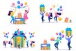 Set Flat concepts Celebrate birthday Party with friends. Anniversary confetti with happy funny 2D characters. For Concept for web design