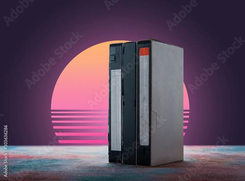 Fotografija  VHS videotapes on retro background