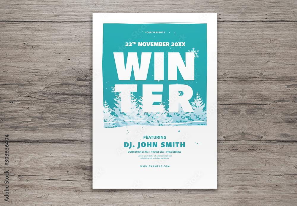 Fototapety, obrazy: Winter Graphic Flyer Layout