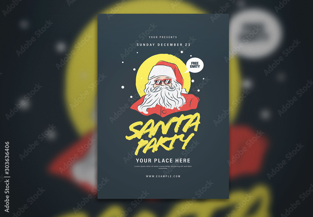 Fototapety, obrazy: Christmas Event Graphic Flyer Layout with Santa