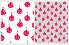 Lovely Christmas Bauble Seamless Vector Patterns. Christmas Tree Decoration Print. Red Dotted Baubles Isolated On A White And Light Gray Background. Cute Hand Drawn Christmas Repeatable Design.