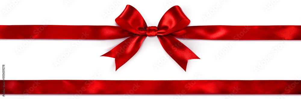 Fototapeta Red Bow And Ribbon Isolated On White