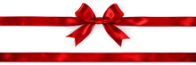 Red Bow And Ribbon Isolated On...