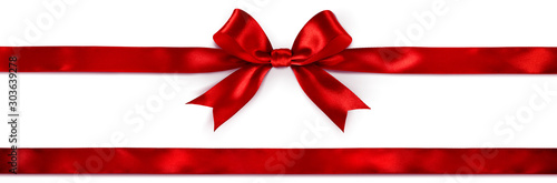 Red Bow And Ribbon Isolated On White - 303639278