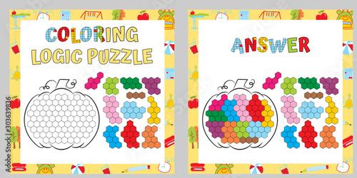 Coloring Logic Puzzle. Educational Game. Fine Motor Skills Worksheet. Vector illustration.
