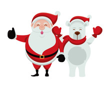 Merry Christmas Santa Claus And Bear Polar Characters
