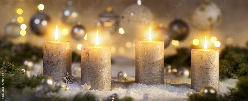 Fototapety, obrazy: Creative Advent decoration with four burning candles (part of a set)