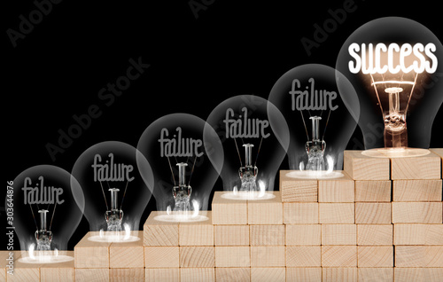 Poster Amsterdam Light Bulbs with Failure and Success Concept