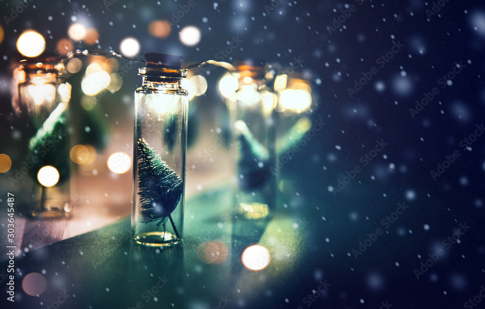 Fototapety, obrazy: Close-up, Elegant Christmas tree in glass jar with snowflakes background. copy space.