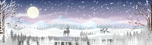 Garden Poster White Christmas night with snowdrifts, blizzard, firs and pine tree forest, Winter landscape scene of reindeers family standing in forest with storm, windy and heavy snowfall with full moon background.