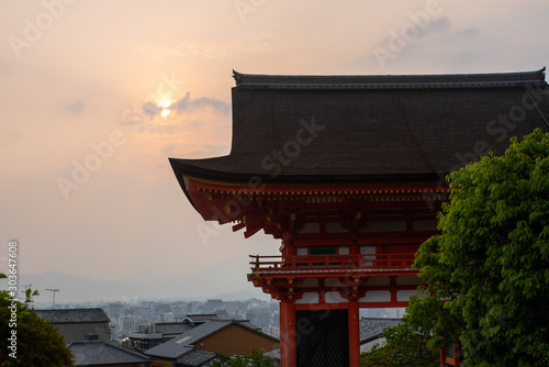 Deva gate of Kiyomizudera Temple at sunset, Tokyo, Japan
