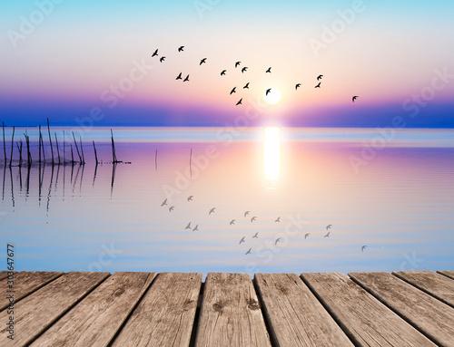 Canvas Print suave amanecer en la orilla del mar
