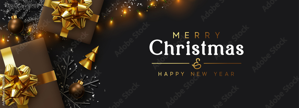 Fototapety, obrazy: Christmas banner. Background Xmas design of sparkling lights garland, brown realistic gifts box, black snowflake and glitter gold confetti. Horizontal christmas poster, greeting card, headers, website