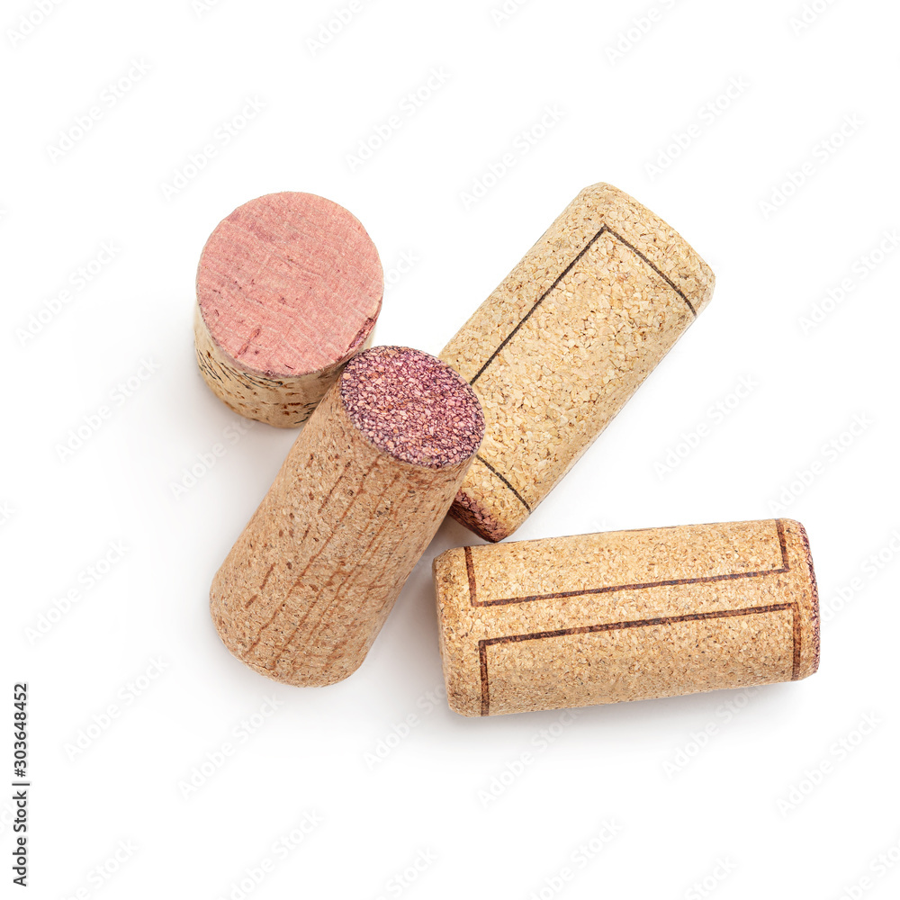 Fototapeta Wine corks collection  isolated on white background.  Food and drink concept. Top view