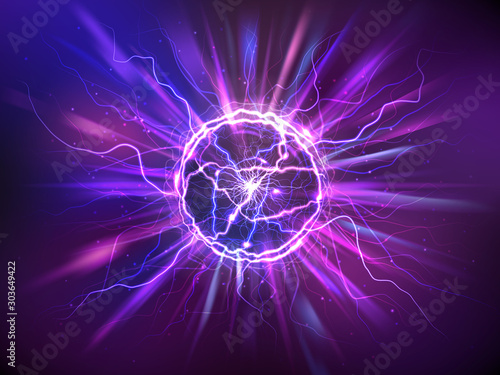 Obraz Electric ball or plasma sphere with rays, realistic vector illustration. Abstractt ball lightning with burning flash or powerful electric discharges isolated at night background. Magical energy design - fototapety do salonu
