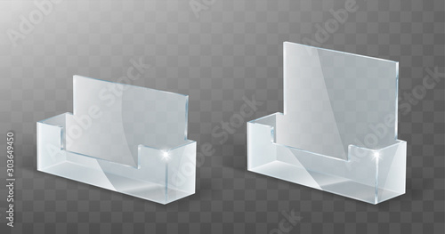 Valokuvatapetti Acrylic card holder, glass or plastic display stand or desk rack for business cards, realistic vector illustration