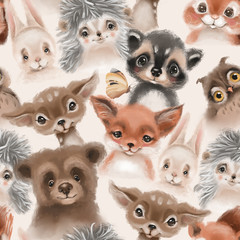 Beautiful seamless, tileable, watercolor pattern with woodland animals - deer, bunny, hedgehog, bear, owl and fox