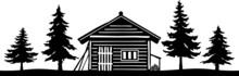 Wooden Hut Skyline Landscape Silhouette Vector