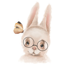 Cute Hand Drawn Hipster Bunny ...